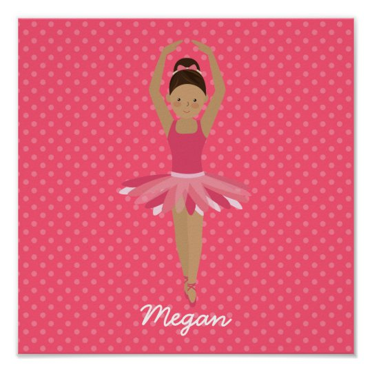 Black Ballerina on Pink Polka Dots Poster