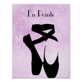 Black Ballet Shoes En Pointe Poster