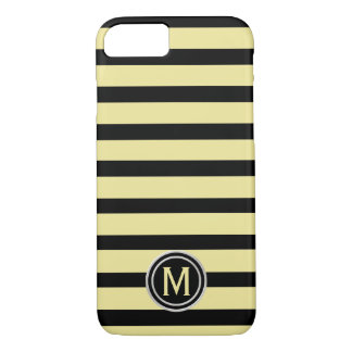 Black & Banana Yellow Stripe Monogram iPhone 8/7 Case