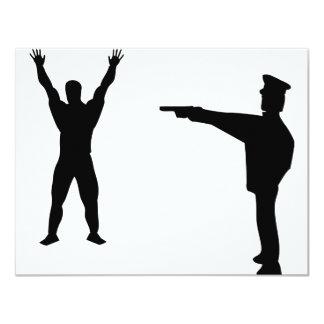 black bandit and policeman icon 11 cm x 14 cm invitation card