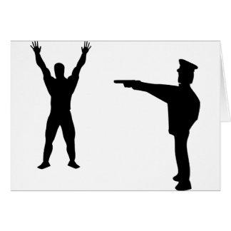 black bandit and policeman icon greeting card