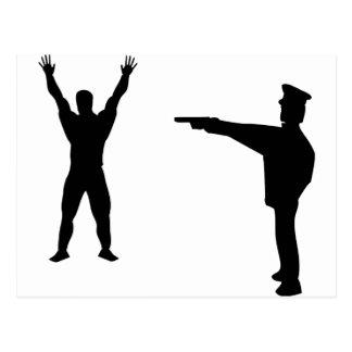black bandit and policeman icon postcard