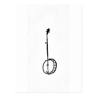 Black Banjo on White Postcard