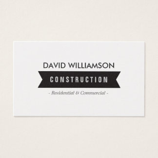 BLACK BANNER CONSTRUCTION, BUILDER, ARCHITECT BUSINESS CARD
