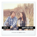Black Banner Happy New Year Photo Flat Cards Personalized Invitations