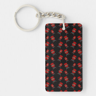 Black barbeque pattern rectangular acrylic key chain