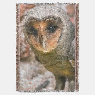 Black barn owl throw blanket