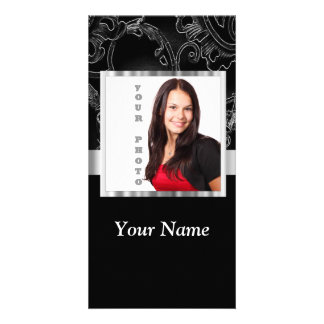 Black baroque instagram template custom photo card