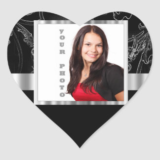 Black baroque instagram template heart sticker