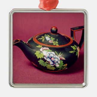 Black basalt teapot christmas ornament