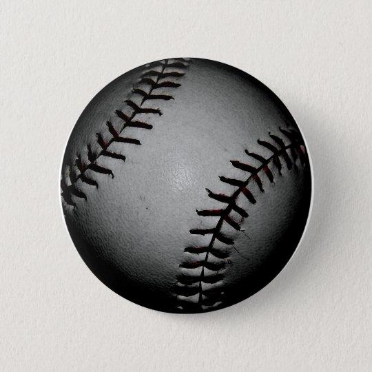 Black baseball 6 cm round badge