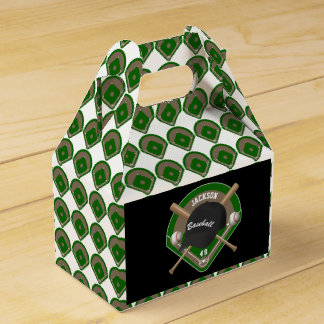 Black Baseball Diamond Player Name and Number Party Favour Boxes