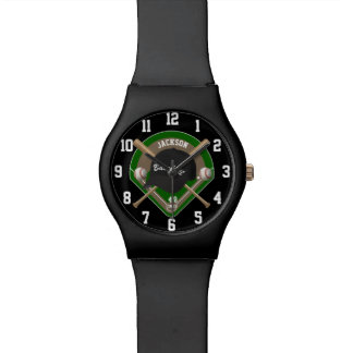 Black Baseball Diamond Player Name and Number Watch