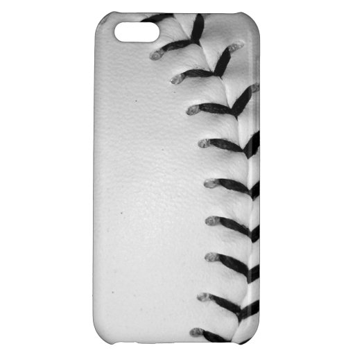 Black Baseball / Softball Stitches Cover For iPhone 5C