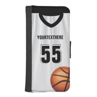 Black BasketBall Dress Name &  Number Phone Wallet