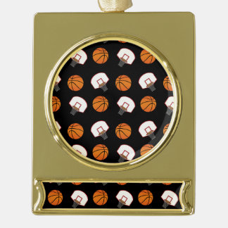 Black basketballs and nets pattern gold plated banner ornament