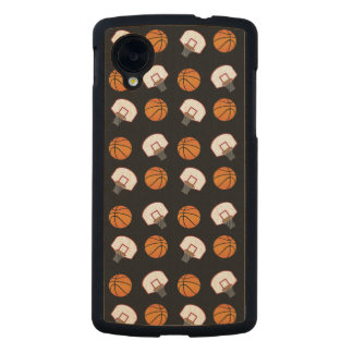 Black basketballs and nets pattern carved® maple nexus 5 case