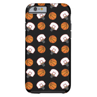 Black basketballs and nets pattern tough iPhone 6 case