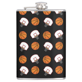 Black basketballs and nets pattern hip flasks