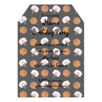 Black basketballs and nets pattern custom invitations