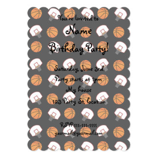 "Black basketballs and nets pattern 5"" x 7"" invitation card"