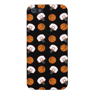 Black basketballs and nets pattern covers for iPhone 5