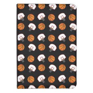 Black basketballs and nets pattern kindle case