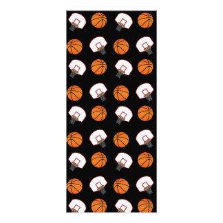 Black basketballs and nets pattern rack cards