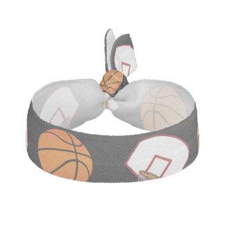 Black basketballs and nets pattern ribbon hair tie