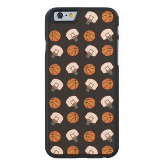Black basketballs and nets pattern carved® maple iPhone 6 slim case