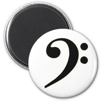Black Bass Clef 6 Cm Round Magnet