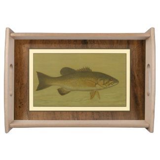 Black Bass on a Green Background Serving Tray