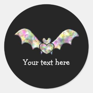 Black Bat and Heart Personalized Halloween Bat Classic Round Sticker