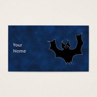 Black Bat Cartoon, in Night Sky. Business Card
