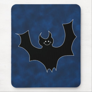 Black Bat Cartoon, in Night Sky. Mouse Mat
