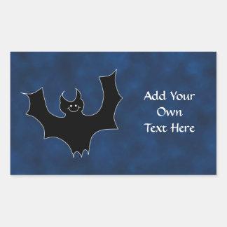 Black Bat Cartoon, in Night Sky. Rectangular Sticker
