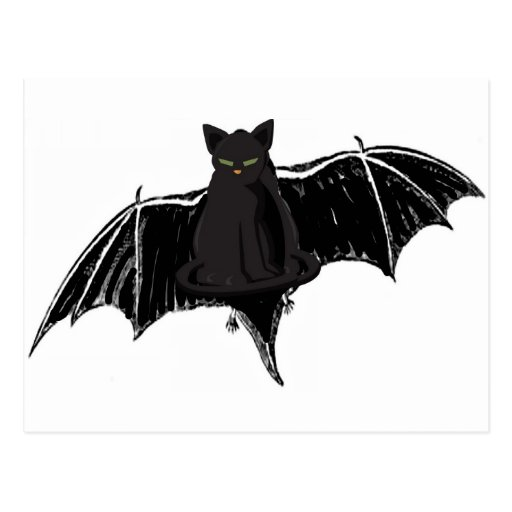 BLACK BAT CAT WITH GREEN EYES POST CARDS