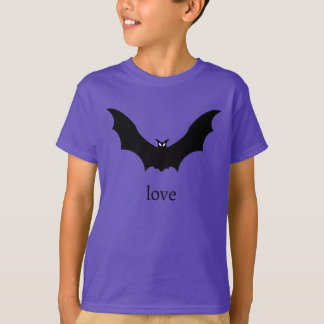 Black Bat Love T-Shirt in Purple
