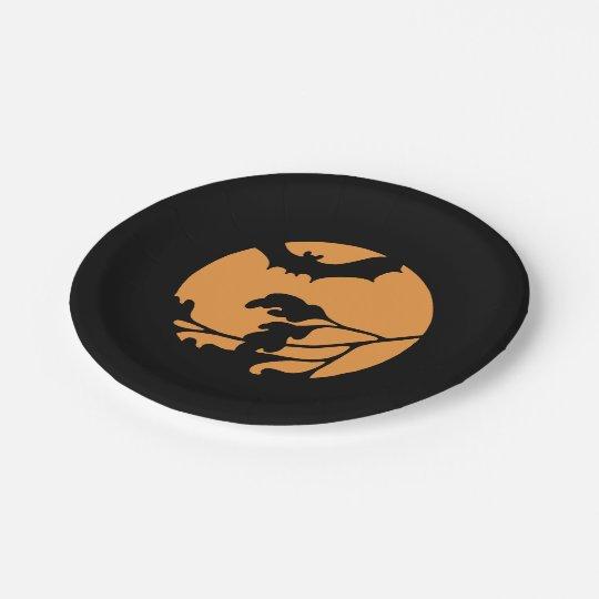 Black Bat Silhouette Paper Plates