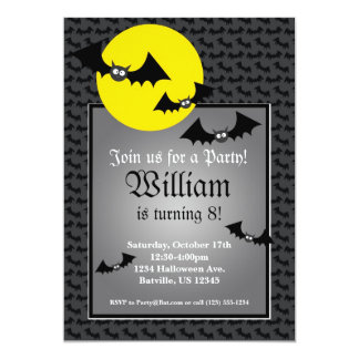Black Bat Spooky Halloween Birthday Party Invite