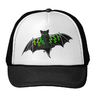 BLACK BAT WITH GREEN LIGHTNING ON WINGS CAP
