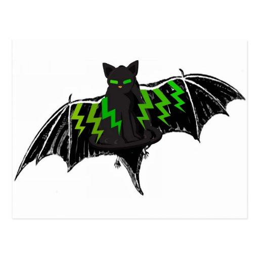 BLACK BAT WITH GREEN LIGHTNING ON WINGS POSTCARD