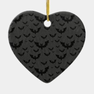 Black Bats Ceramic Heart Decoration