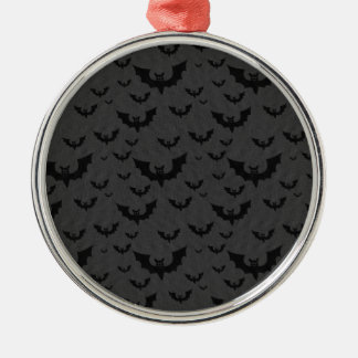 Black Bats Silver-Colored Round Decoration