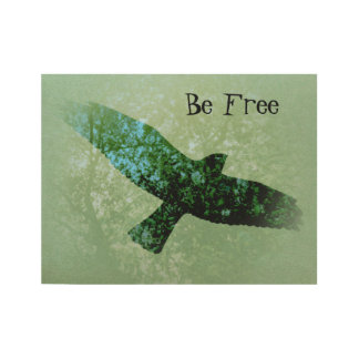 Black Be Free Crow Flying Through Tree Tops Photo Wood Poster