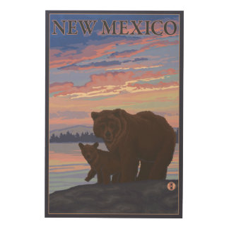 Black Bear and CubNew Mexico Wood Wall Art