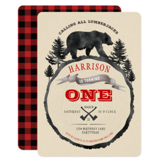 Black Bear and Lumberjack Birthday Invite
