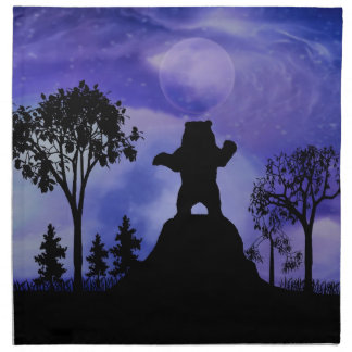 Black bear and the moon napkin