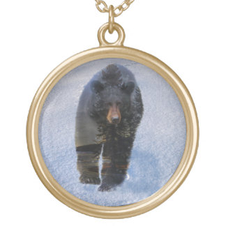 Black Bear and Winter Snow Gold Plated Necklace