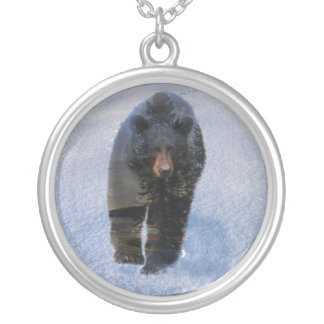 Black Bear and Winter Snow Silver Plated Necklace